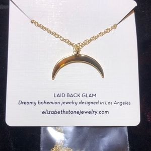 Elizabeth Stone Jewelry Crescent Moon Necklace